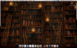 Image of my current dock and desktop: shelves of books with candles as the background image